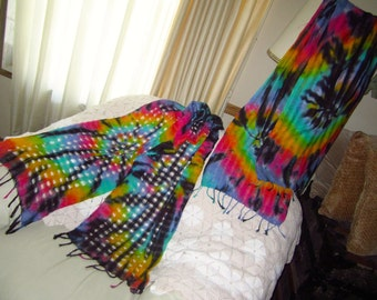 Tie dye scarves and shawls, choose from pastel or bright rainbow colors with a swirl of black, 2200