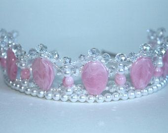 Pretty Pink pearl and Crystal Princess Tiara, Flower Girl Tiara