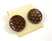 Flower of Life Sustainable Wooden Post Earrings - Top Hanging Large Walnut Wood Studs
