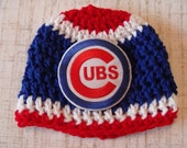 CHICAGO CUBS 0-3 Month 14-16 Inch Circumference Crochet Baby Hat, Baseball, Shower Gift, Cap, Beanie, Newborn Baby Boy Girl Hockey
