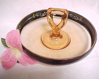 Vintage Center Handled Fruit Bowl Pink Glass With Black Enamel Decoration, Collectible Kitchen Glassware, Console Serving Bowl