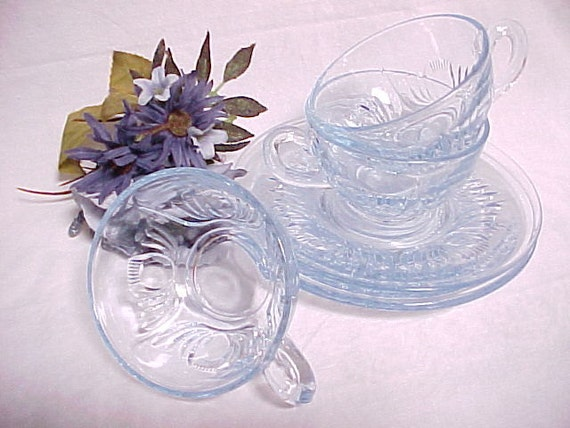 Rare paden city glass maya pattern ice blue cup and saucer for Most valuable depression glass patterns