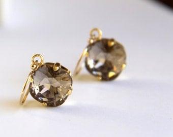 Bridesmaids Earrings - Brown Swarovski Crystal Earrings - Jewelry for Bridesmaids