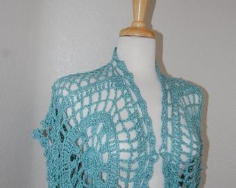 Crochet Shrug Ocean acrylic bamboo blend size small medium