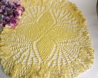 Crocheted Doily Vintage Large Yellow Doilies Centerpiece  B51