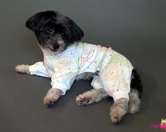 T Shirt Knit Dog Pajamas or Dog Shirt With Monkeys Design