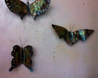 Copper Butterflies set of Three