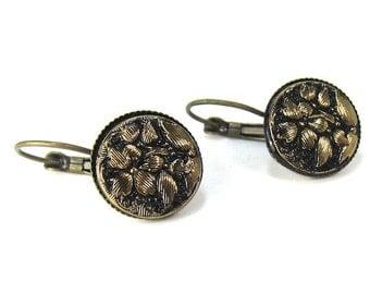 Gold and Black Flower Czech Glass Button Earrings