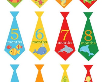 Sea animals baby boy monthly iron on or sticker ties with fish, shark under the sea themed baby shower