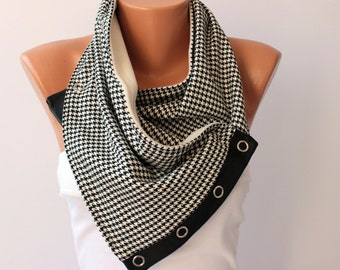 MENS scarf NECKWARMER  with snaps on genuine leather, Houndstooth patterned scarf