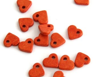 Greek Ceramic Heart Beads, Orange Ceramic Hearts, Ceramic Heart Beads, Orange Heart Ceramic Pendant 30pcs C 10 217