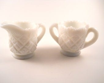 Vintage Westmorland Thumblelina Milk Glass Mini Cream and sugar