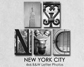 Letter Photography New York City,  4x6 B&W Alphabet Prints, NYC photos