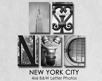 Letter Photography New York City,  individual 4x6 B&W Alphabet Prints, NYC photos