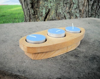 Items similar to three piece candle holder set from reclaimed wood on etsy - Sailboat tealight holders ...