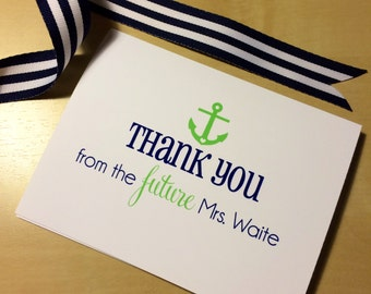 Nautical Bride to Be Thank You Cards