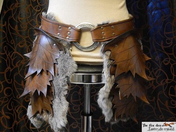 Leather Leaf Tasset Upper Leg Armor Spring Or Fall Color