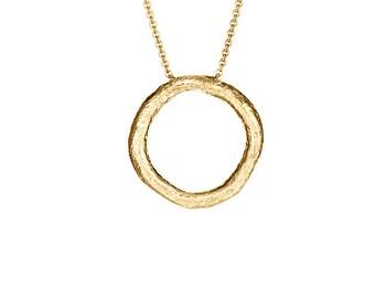 Yellow Gold Circle Of Life Necklace, Medium Circle Necklace Pendant, Gold Circle Necklace,Circle Necklace Gold,Round Necklace,Circle of Life