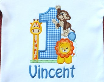 First Birthday Jungle Themed T-shirt Personalized