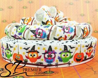 """7/8"""" Halloween Owls and Pumpkins Grosgrain Ribbon"""