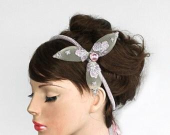 Bridal Headband, Weddings Head Piece, Pastel Pink Silver Glittered, OOAK Unique Item. Handmade