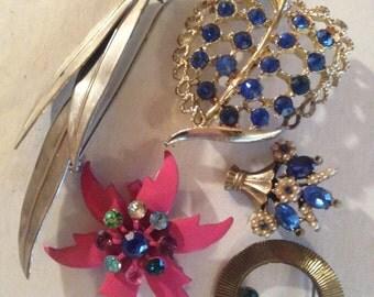 Vintage Rhinestone Brooches Bridal Brooch Bouquet Craft lot 662