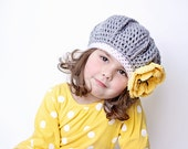 Girls Hat, Yellow and Gray Beret, Crochet Hat, Spring Hat