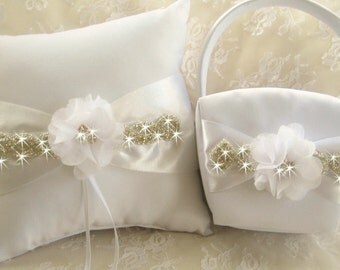 Crystal Wedding Pillow and Basket -  Rhinestones and Flowers Ivory or White  Ring Bearer Pillow, Flower Girl Basket Crystals