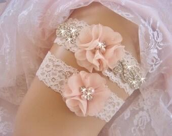 Wedding Garter / Blush Garter / Crystal Garter / Toss Garter / Garter Belt / Garder / Ivory Garter / lace garter