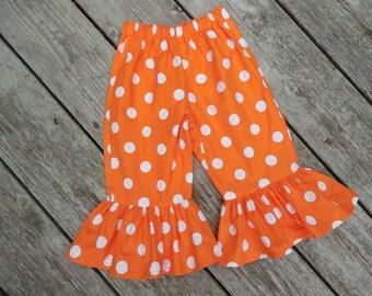 Girl's Orange and White Polka Dot Ruffle Pants