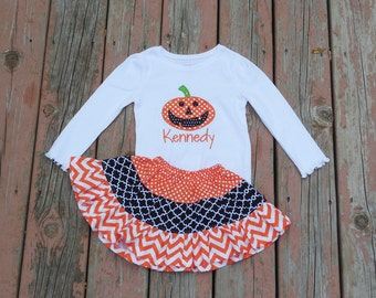 Girl's Toddlers Skirt and Shirt Outfit -  Tiered Halloween Skirt with Pumpkin Applique Shirt