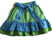 Ruffle Skirt in Blues and Greens Size 6 Child Ready to Ship