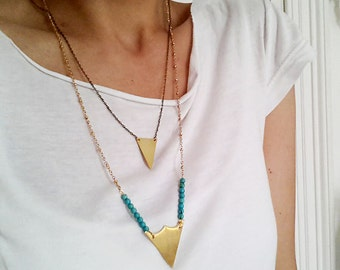 Triangle Necklace. Gold Brass Triangle. Turquoise Gold Necklace. Geometric Trendy Modern Jewelry. Layering Necklace