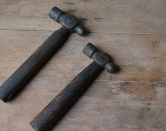 Pair Of Primitive Ball Peen Wood Hammers, Vintage Tools, Old Hammers