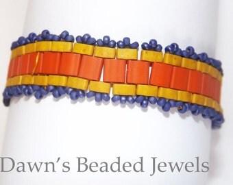 Handmade bracelet, Terra Cotta, Mustard Yellow and Blue, Narrow bracelet, beadweaving