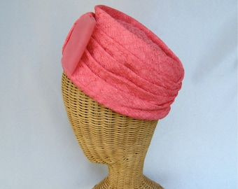 Vintage Ladies Hat Pink Turban Tulle Bow Pleated
