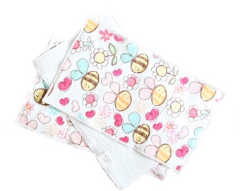 Bees, Hearts, and Flowers Flannel and Terrycloth Burp Rags, Set of Three, Ready to Ship