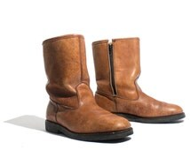 9 EE | Vintage Work Boots Fleece Lined Ankle Zipper Boots in Brown Leather
