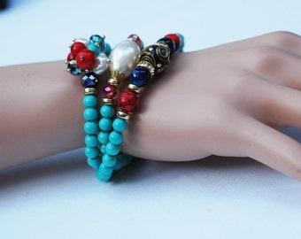 Chunky Bracelet, Wrap Bracelet, Turquoise Bracelet necklace, Short Necklace, Gift for her