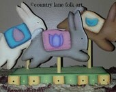 Spring Easter bunnies, hand painted wood, holiday decoration, rabbit decor