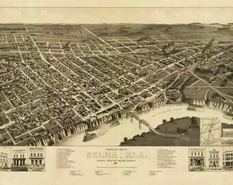Vintage Map - Selma Alabama 1887