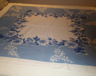 Vintage Blue and White Tablecloth // 50s // 47x54 // NO FLAWS