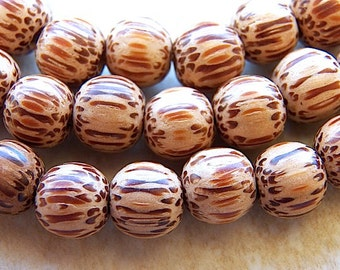 20 pieces 8mm Palmwood Beads, Brown Wood Beads