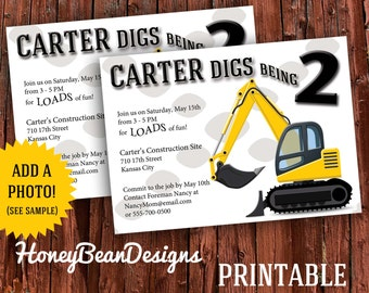 Construction Birthday Party Invitation Digger Dig Photo Tools Dirt