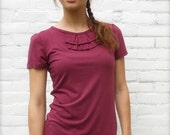ON SALE! Burgundy Blouse Was 58 dollars. Top extra long tunic burgundy short sleeve ruffle keyhole ecofriendly bamboo jersey fabric Stretch