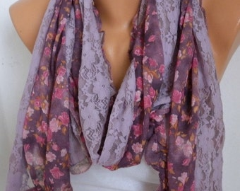 Pale Lilac Floral Lace Scarf,Bohemian Shawl Scarf Cowl Scarf  Multicolor Gift For Her Women Fashion Accessories Birthday Gift