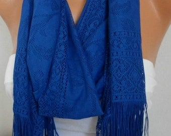 Royal Blue Tulle Scarf,Spring, Christmas Hanukkah Gift, Cowl Bridesmaid Bridal Accessories Gift Ideas for Her Women Fashion Accessories
