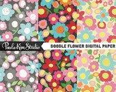 Bright Floral Pattern Scrapbook Papers Instant Digital Download