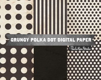 Polka Dot Backgrounds, Black Digital Papers, Distressed Background Textures, Commercial Use