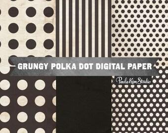 80% OFF SALE Black Polka Dot Digital Scrapbook Papers, Black Digital Paper Pack, Distressed Background Textures, Commercial Use